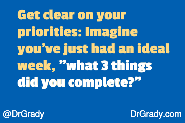 "Get clear on your priorities: imagine you've just had an ideal week. ""what 3 things did you complete?"""